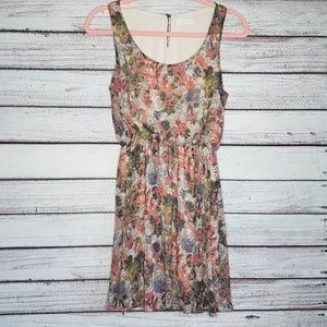 Lush Gray & Pink Floral Lined Sheer Dress Small